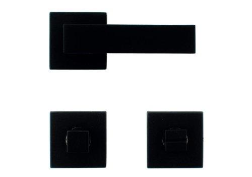 Zwarte deurklinken Cubica met WC garnituur
