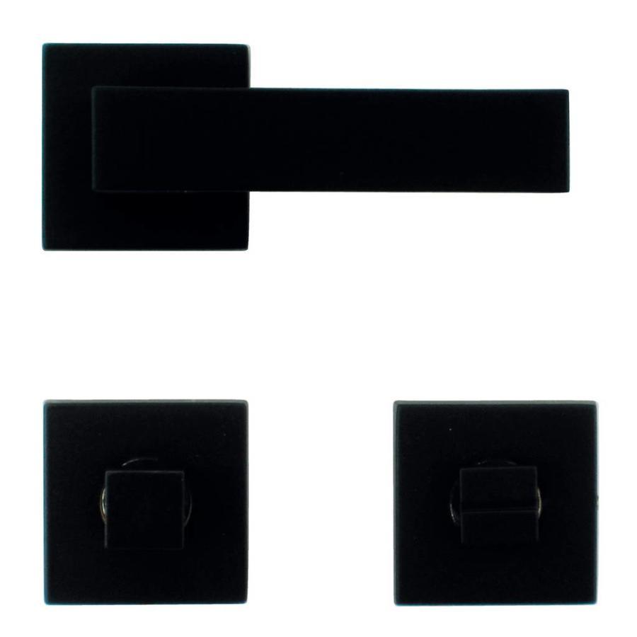 Zwarte massieve deurklinken Cubica met bijhorend WC garnituur