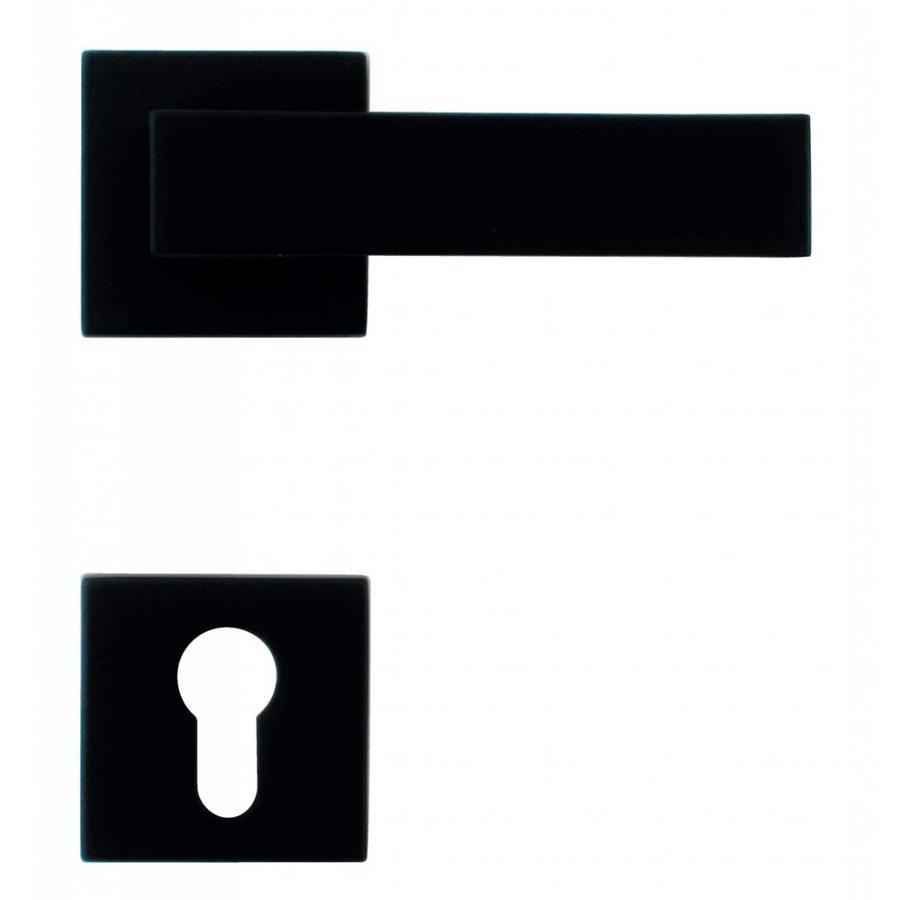 Zwarte deurklinken Cubica met cilinderplaatjes