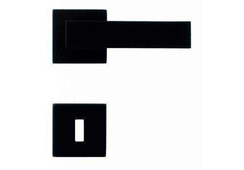 Zwarte deurklinken Cubica met sleutelplaatjes