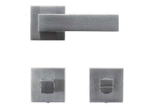 Rvs look deurklinken Cubica met WC garnituur