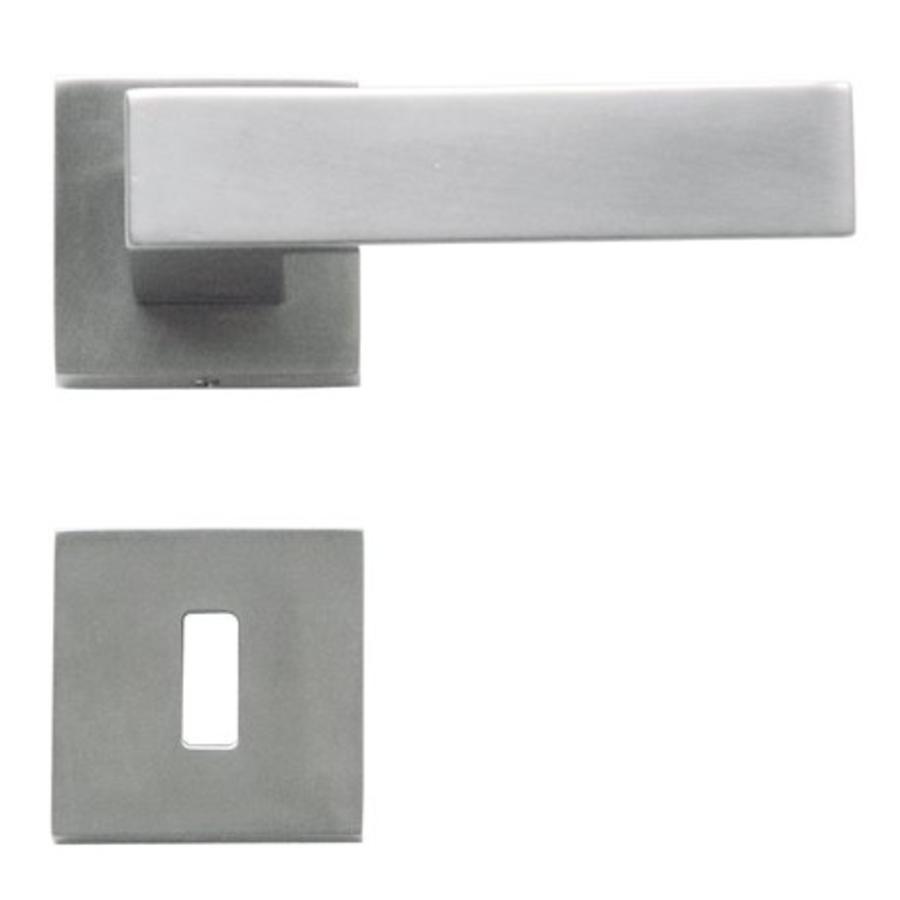 Rvs look deurklinken Cubica met sleutelplaatjes