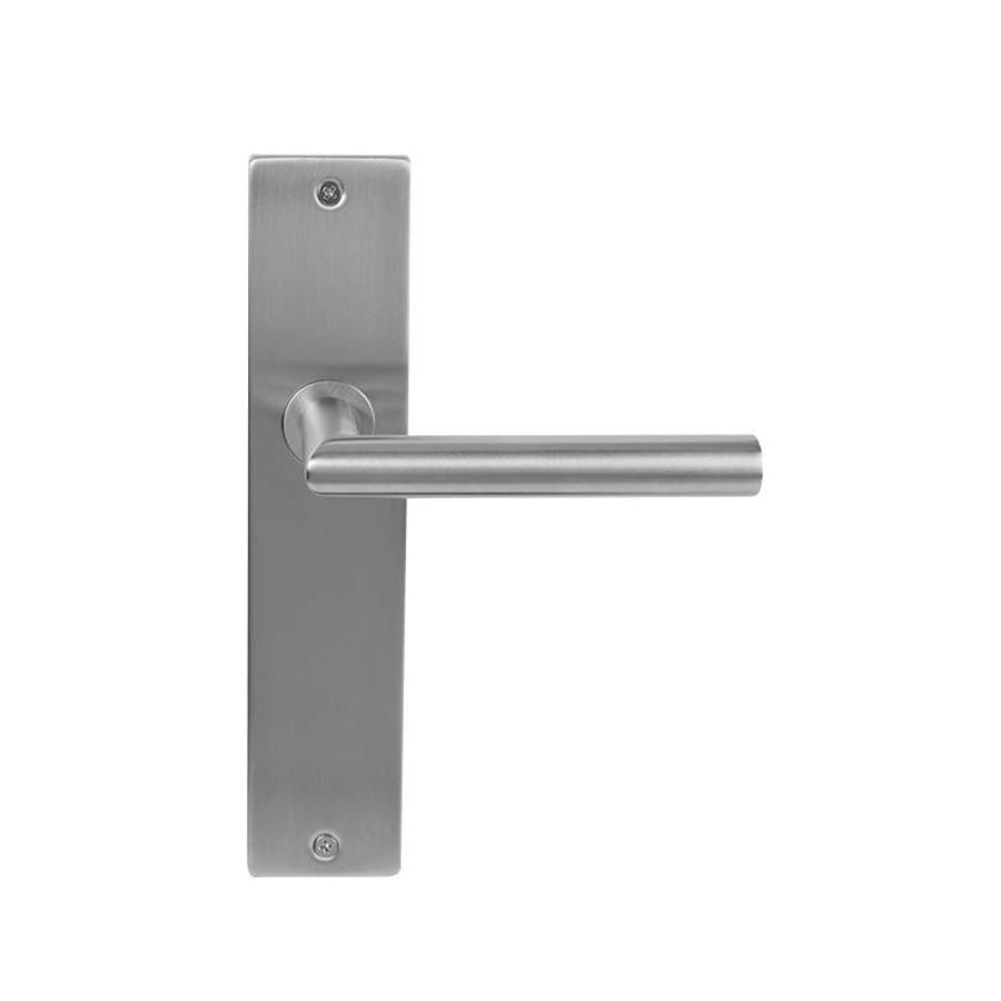 Stainless steel door handle Jersey on rectangular shield