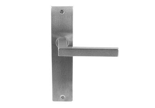 Stainless steel door handle Marbella on rectangular shield