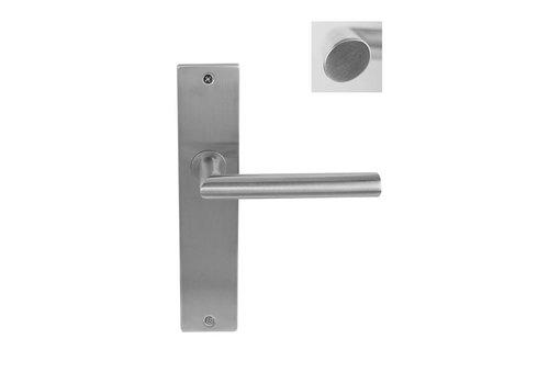 Stainless steel Door handle Dakar on rectangular shield
