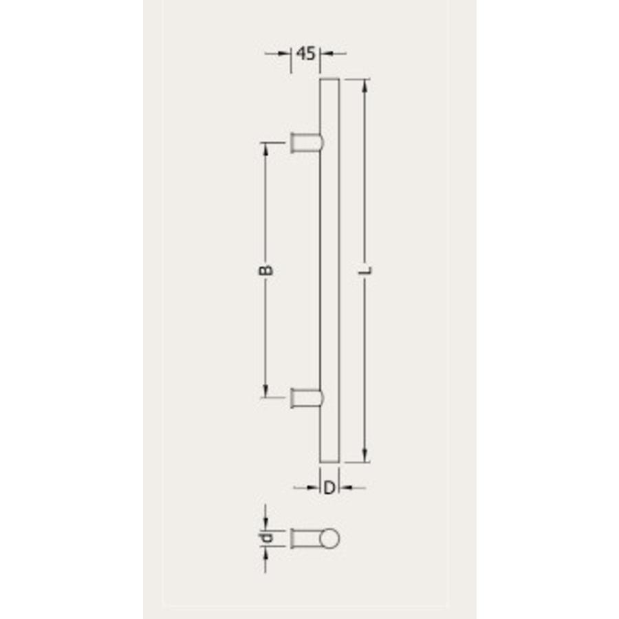 Deurgrepen T 25/200/300 zwart paar voor voor deurdikte > 3cm