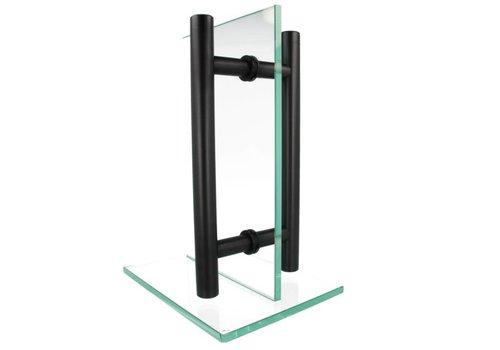 Door handle T 25/300/400 black pair for glass