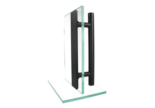 Zwarte deurgreep T+vlak 25/200/300  paar voor glas