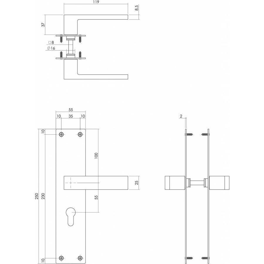 Deurkruk Amsterdam met PC cilindergat 55mm mat zwart op schild