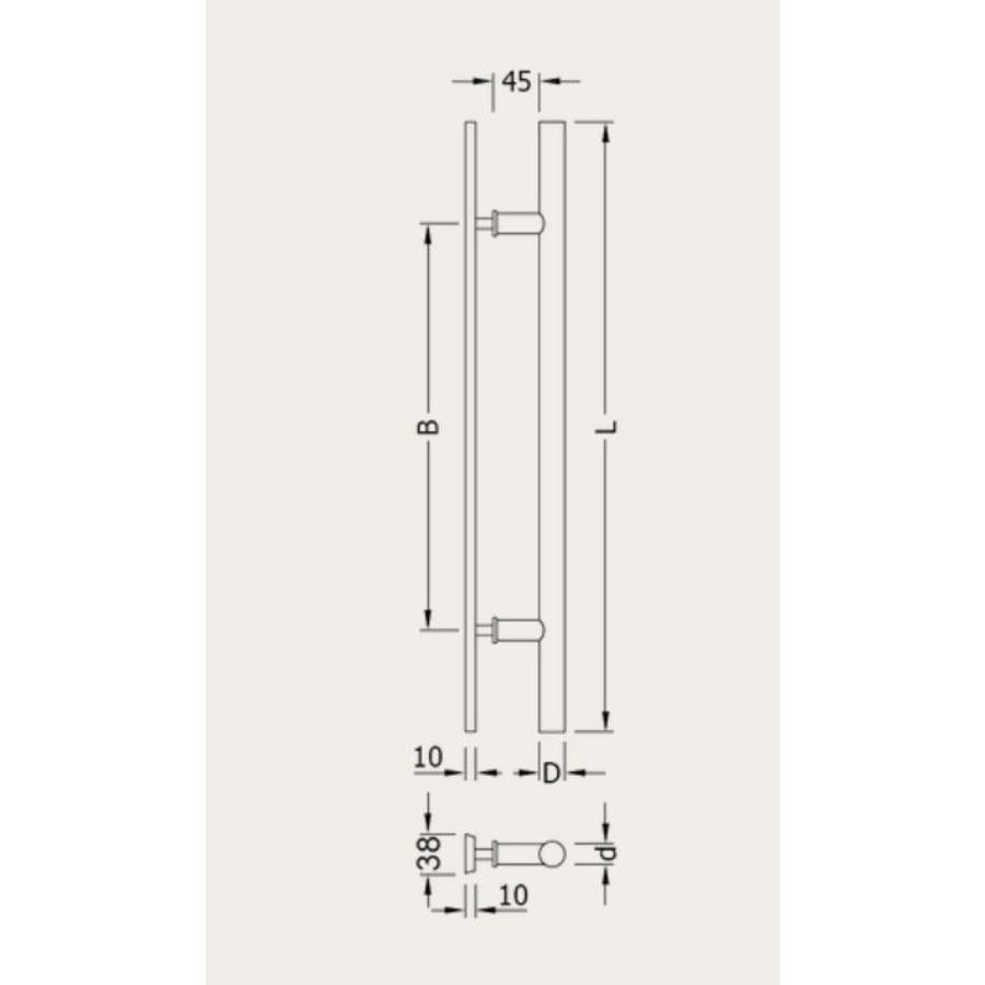 Zwarte deurgreep T+ vlak 25/400/600 paar voor houten deur