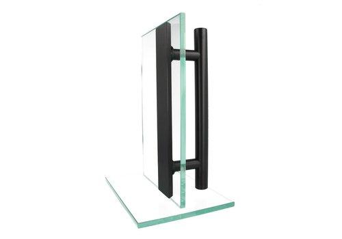 Zwarte deurgreep T+ vlak 25/500/600 paar voor glas
