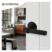 Zwarte deurkrukken L/L-model + ronde platte rozet Ø50x2mm rvs/zwart