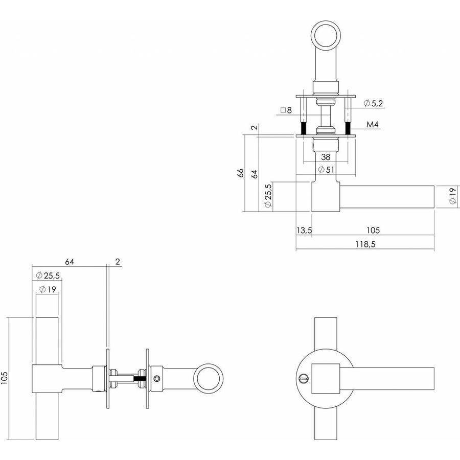 Deurkruk L/T-model recht + ronde platte rozet 50x2mm rvs/zwart