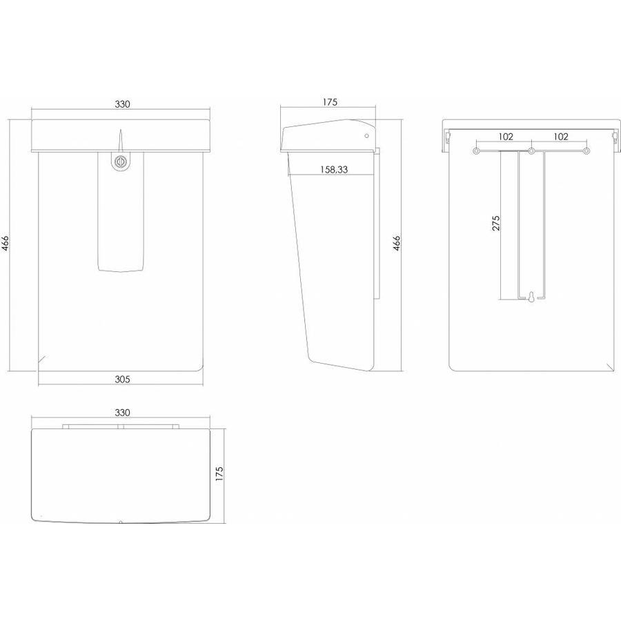 Intersteel postkast met slot (2 sleutels) zwart kunststof RAL9005