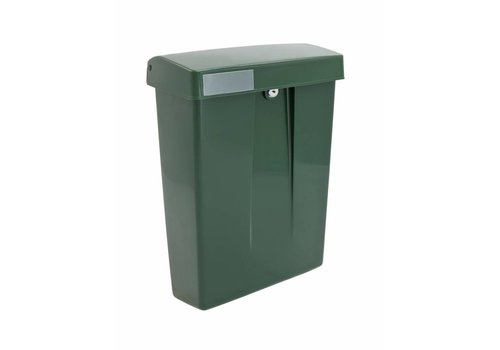 Green plastic mailbox with lock