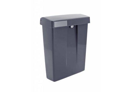 Gray plastic mailbox with lock