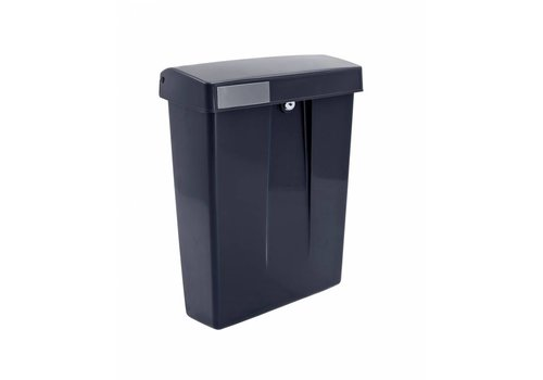 Black plastic mailbox with lock