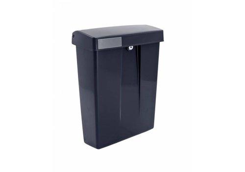 Schwarze Kunststoff-Mailbox mit einem Schloss