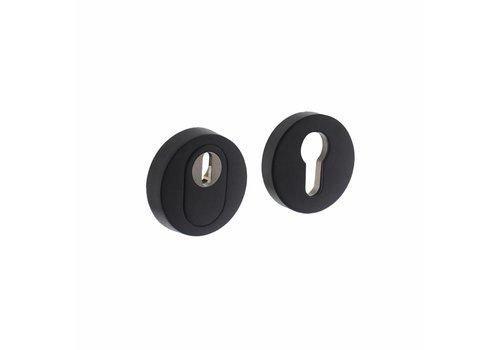 SKG3 Écusson de sécurité rond à encastrer avec protection anti-traction en acier inoxydable/noir mat