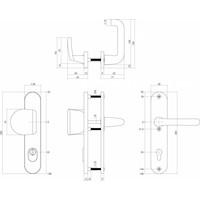 Intersteel Veiligheidsbeslag SKG3 greep/kruk profielcilinder 55 mm met kerntrekbeveiliging