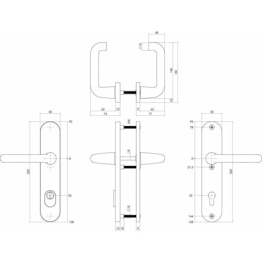 Intersteel Veiligheidsbeslag SKG3 kruk/kruk profielcilinder 55 mm met kerntrekbeveiliging