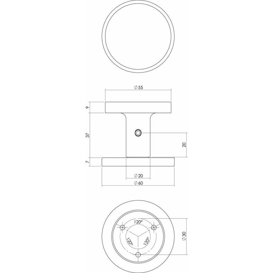 Intersteel Voordeurknop Rond Ø55 mm éénzijdige montage aluminium