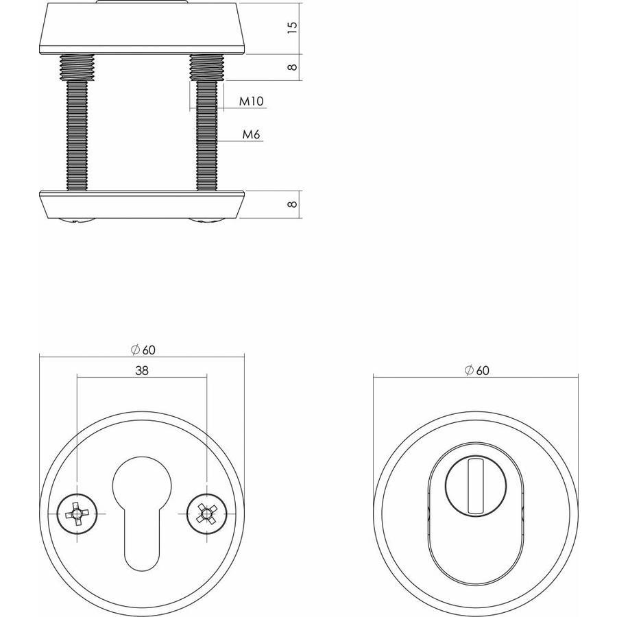 Intersteel Veiligheidsrozet SKG3 rond met kerntrekbeveiliging aluminium
