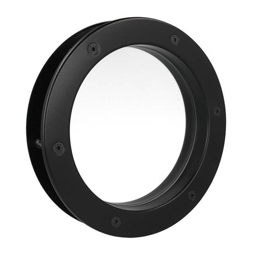 Zwarte patrijspoort B4000 250 mm + doorzichtig veiligheidsglas
