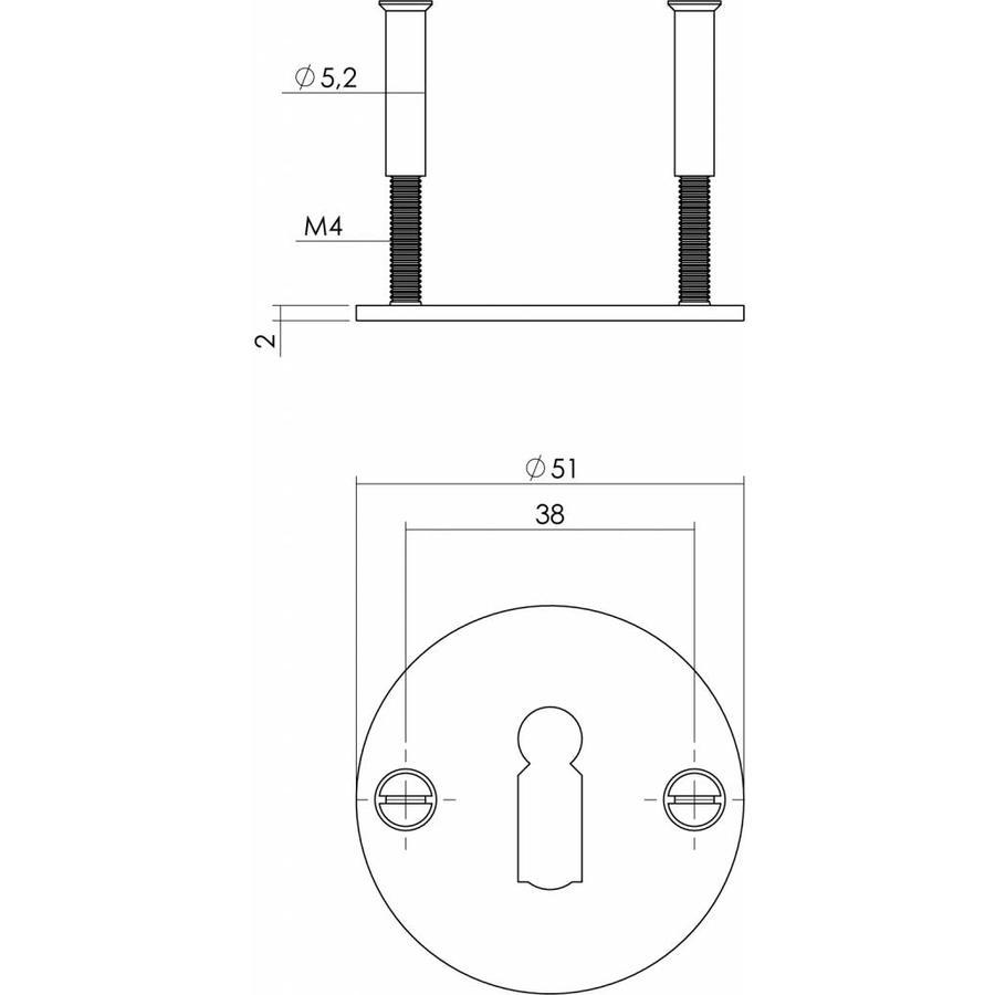 1 Sleutelplaatje rond plat 50x2mm rvs/zwart