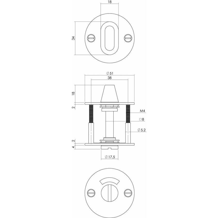 WC-sluiting 8mm rond plat 50x2mm geborsteld RVS