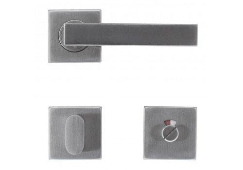 Stainless steel door handles Cosmic with toilet set