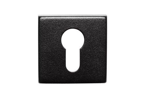 Paire de plaques cylindriques carrées inox / noir