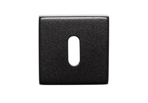 Paar sleutelplaatjes vierkant RVS/zwart