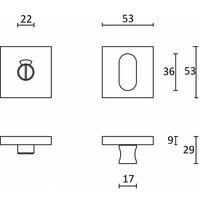 WC-badkamer garnituur vierkant RVS