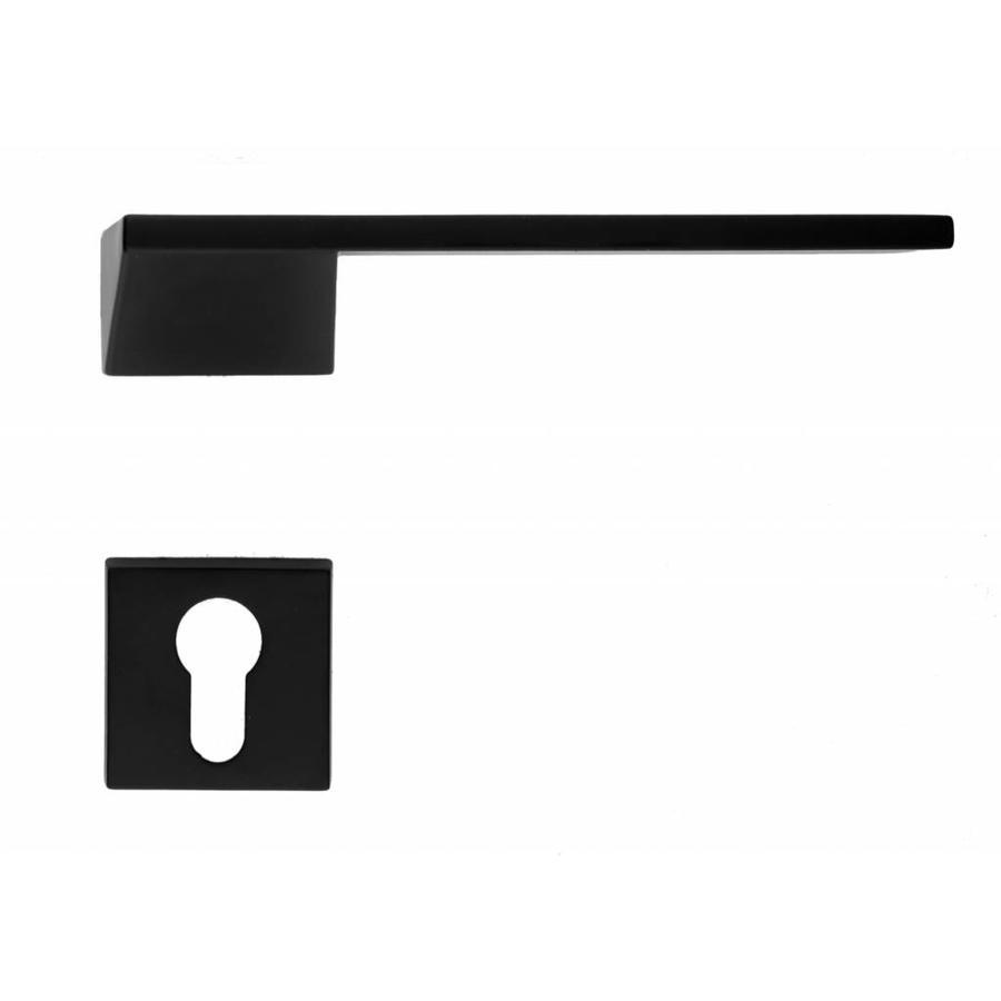 Zwarte deurklinken Seliz  met cilinderplaatjes