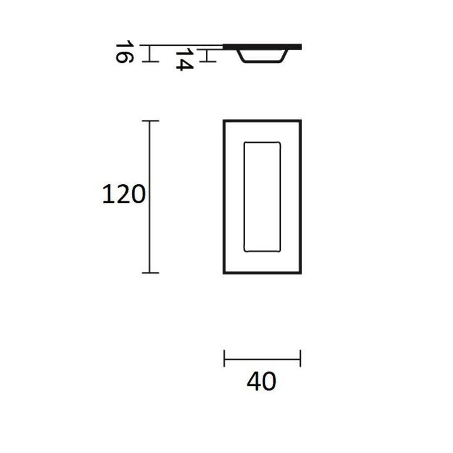 RVS schuifdeurkom rechthoekig 120x40mm