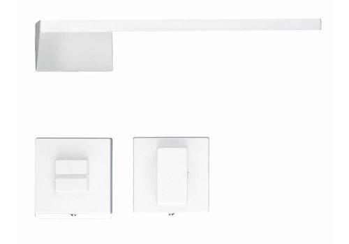 White Seliz door handles with WC fittings