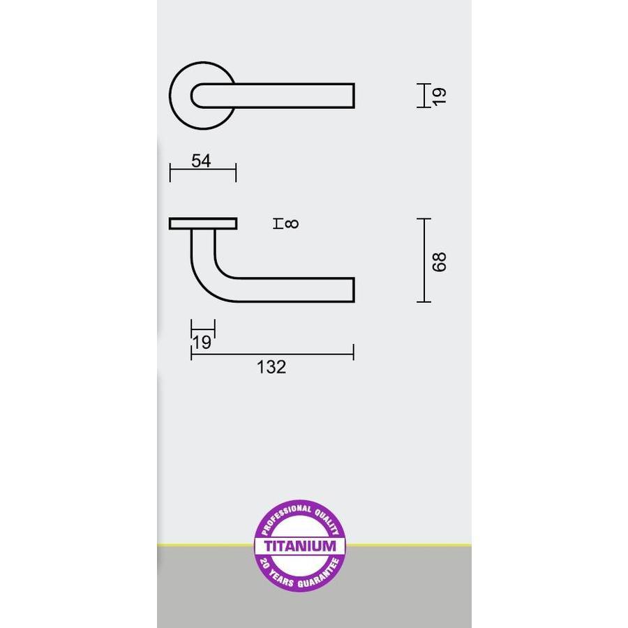 Titanium deurklinken L Shape 19 mm met cilinderplaatjes