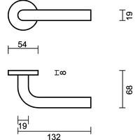 Deurklink L shape 19 mm RVS  mat zwart + Cyl