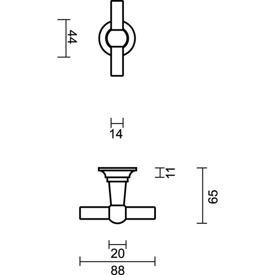 Deurkruk Petra met T+T combinatie in Old Brass + CYL