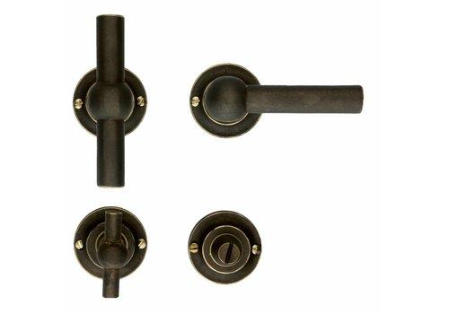 Old Brass deurklinken Petra T + L met WC -Garnituur