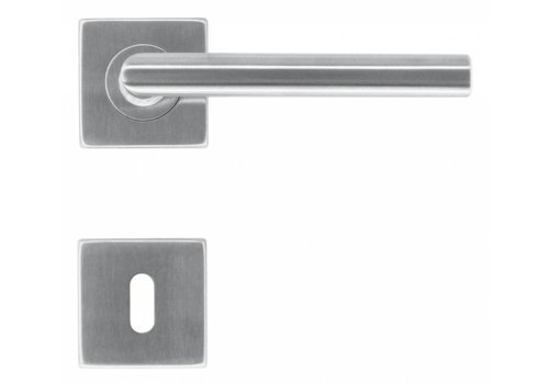 Stainless steel door handles Square I shape 16 mm with key plates