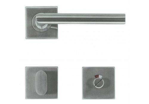 """RVS deurklinken Square """"I shape 16 mm"""" met wc"""