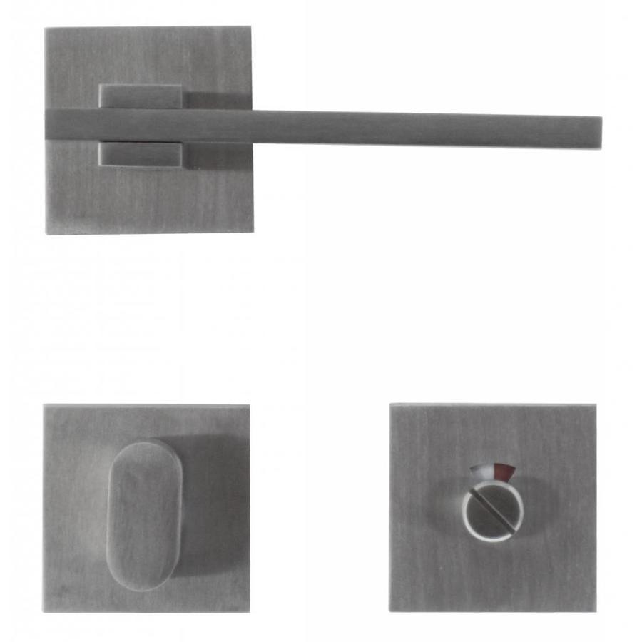 RVS deurklinken 'Square 3' met WC garnituur