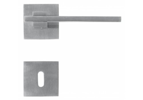 Stainless steel door handles 'Square 3' with key plates