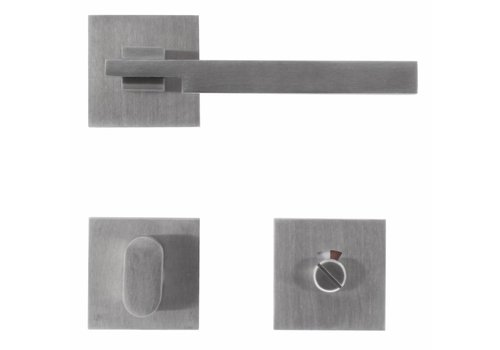 Stainless steel door handles 'Square 2' with toilet set