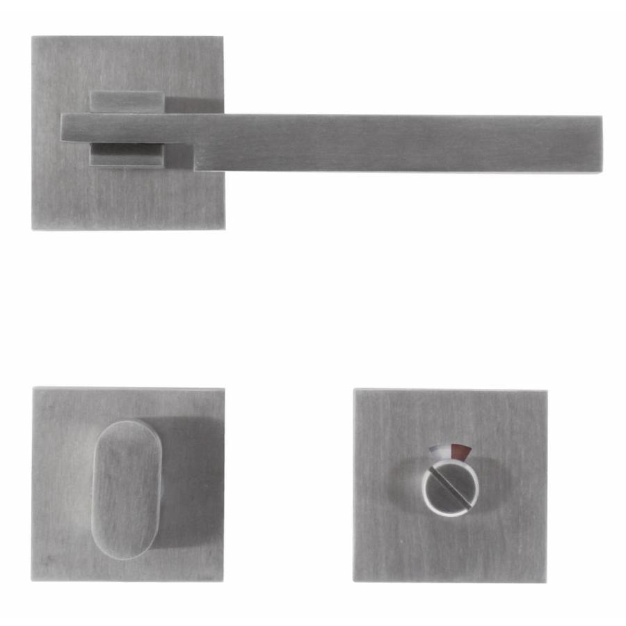 RVS deurklinken 'Square 2' met WC garnituur