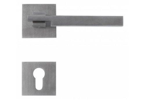 Poignées de porte en acier inoxydable 'Square 2' + CYL