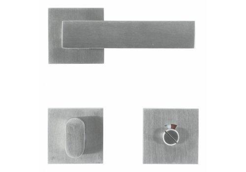 Solid stainless steel door handles 'Square 1' with toilet set