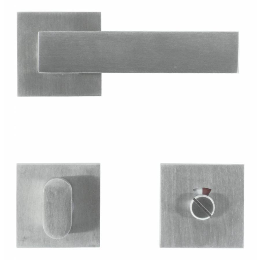 Massieve RVS deurklinken 'Square 1' met WC garnituur